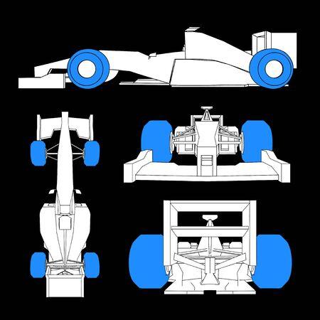 racecar: tires racing car Illustration