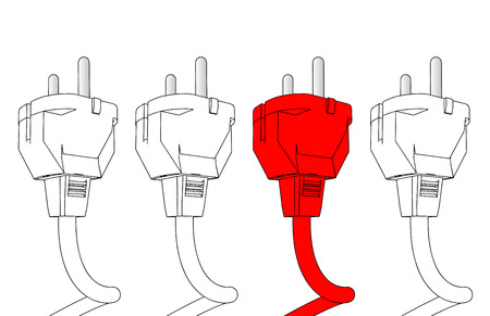 adapter: Red plug in Illustration