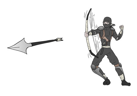 archer cartoon: arrow ninja attack Illustration