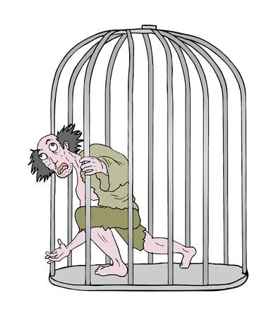 crazy man in jail Vector