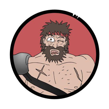 barbarian: surprised barbarian face Illustration