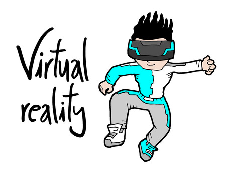 reality: virtual reality kid Illustration