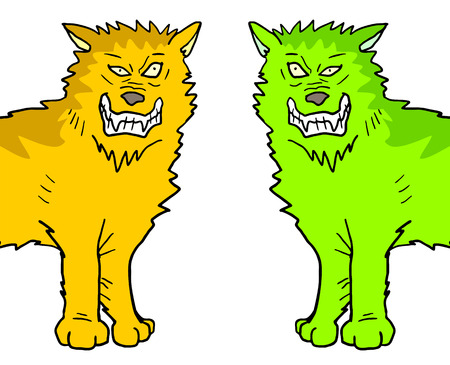 ferocious: two color wolfs