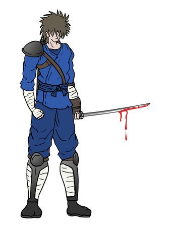 samurai with bloody sword