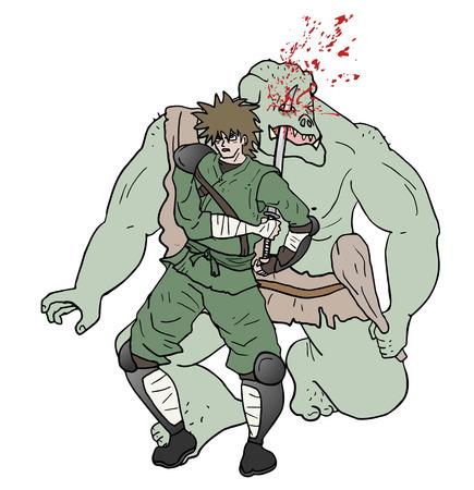villain: samurai attack gore scene