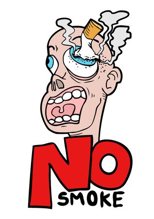 cigar smoking man: funny no smoke message Illustration