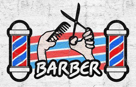 modern doll: Barber sticker Stock Photo