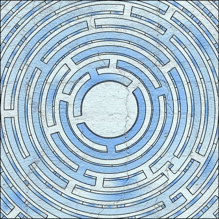 visionary: Blue circle maze Stock Photo