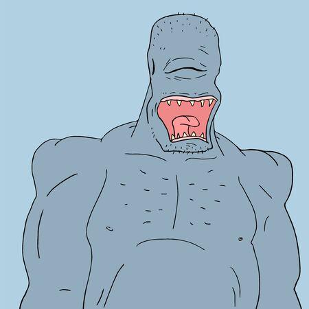 villain: blue ugly monster Illustration