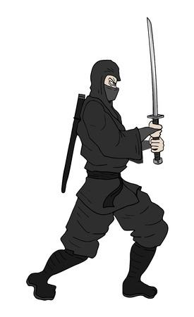 assassin: ninja with sword illustration