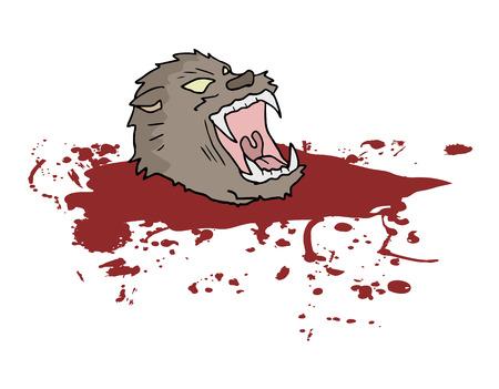 sangre derramada: Gore cabeza de lobo salvaje Vectores