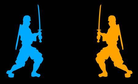 warriors: two samurai warriors Illustration