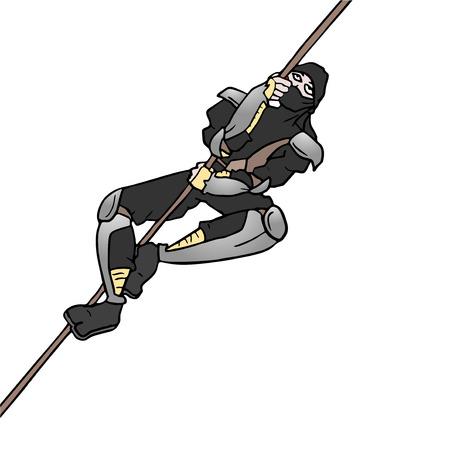 assassin: ninja climbing rope Illustration