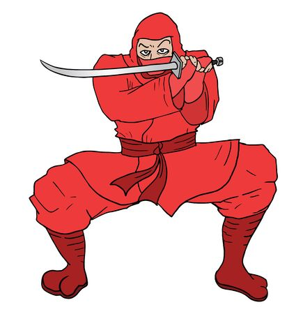 assasin: red ninja draw Illustration