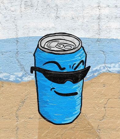 canned drink: Cartoon can