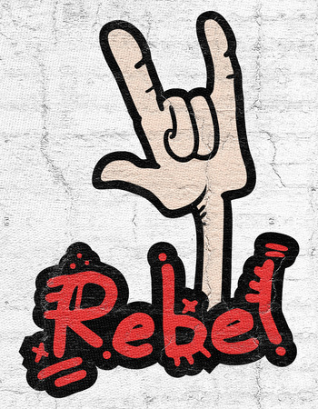 unruly: Rebel gesture Stock Photo