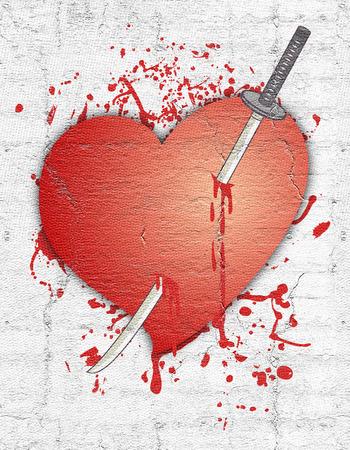 anguish: Sword and heart Stock Photo