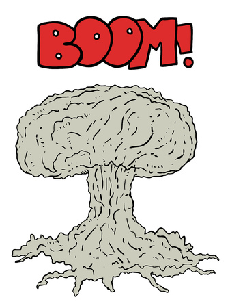 no nuclear: Atomic bomb vector Illustration
