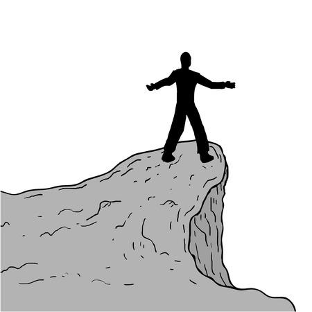 cliff: man in cliff