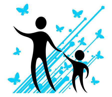 father with child: art imaginative symbol