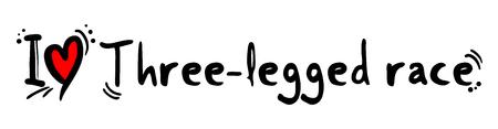 Mensaje de amor de carrera de tres patas Ilustración de vector
