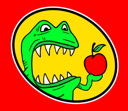 monster with red apple