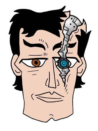 robot face: broken robot face