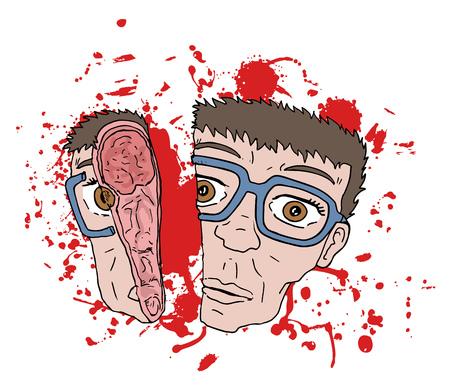 sangre derramada: escena de la cara de gore Vectores
