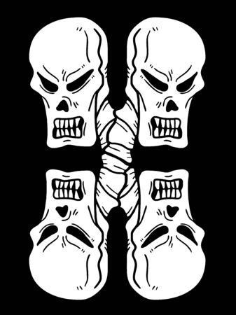 balck and white: skull faces