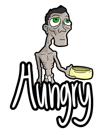 beg: hungry message Illustration