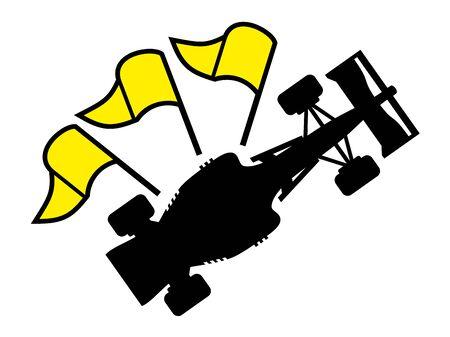 checker flag: racing yellow flag symbol