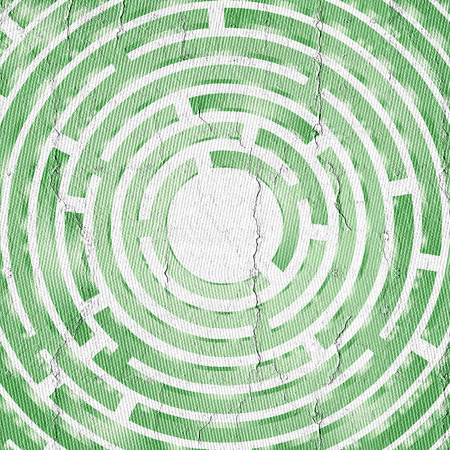 visionary: Green circle maze Stock Photo
