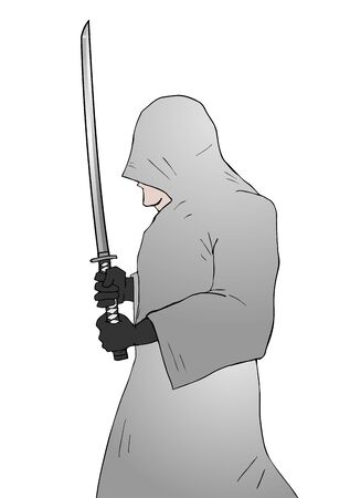 stealth: mystery warrior with sword Illustration