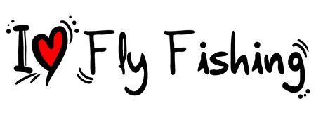fly fishing: Fly Fishing love Illustration