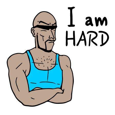 hard: hard man illustration