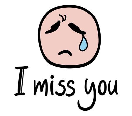 i miss you: I miss you message Illustration