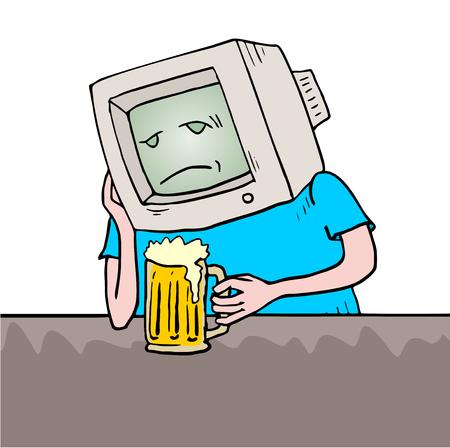 the drinker: sad retro computer drinker