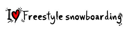 snowboarding: Freestyle snowboarding love Illustration