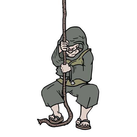 pulling rope: man pulling rope Illustration