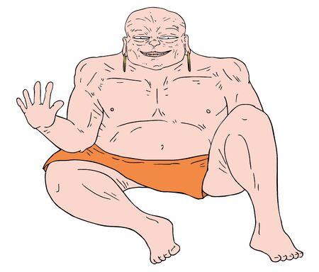 buda: fat man draw Illustration