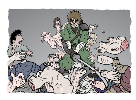 vignette: zombie attack vignette draw Illustration