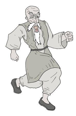old man standing: man walking draw