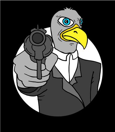 delinquent: gangster bird Illustration