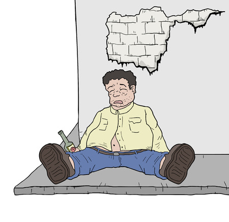 hangover: drunk man illustration