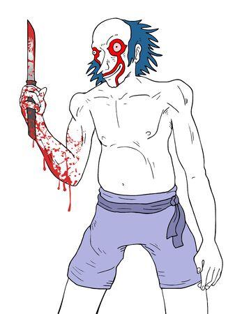 Evil clown: crazy clown