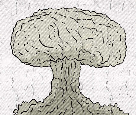 nuclear weapon: big bomb draw Stock Photo