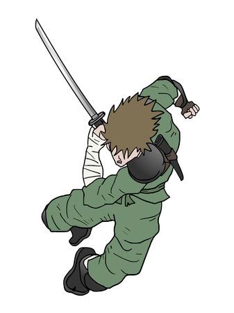 ninja ancient: samurai draw Illustration