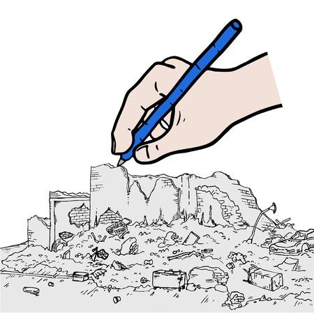 debris: ruins street hand drawing