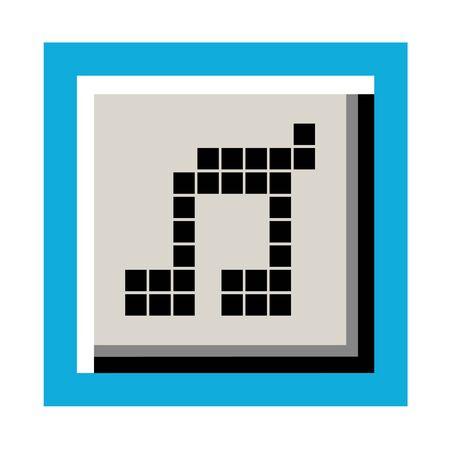 original circular abstract: pixel music button