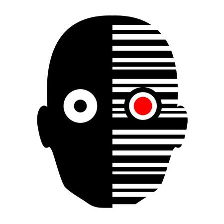 myopia: robot face icon Illustration